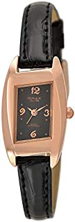 Omax Watch for Women, Analog, Leather Band, Black, OMKC61426B42