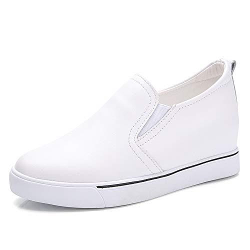 AONEGOLD Zapatillas Deportivas De Mujer PU Cuero Altas Plataforma 7 CM Tacon Sneakers Elegante Deportivos Zapatillas Zapatos Blanco 34 EU