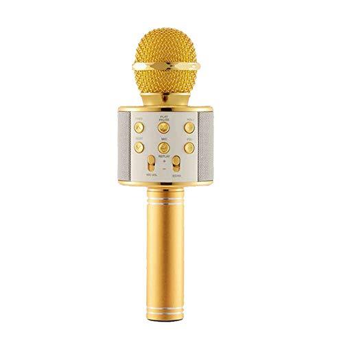 Wj El micrófono de Karaoke Bluetooth inalámbrico portátil de Mano de Mike Mic Regalo de cumpleaños de la Fiesta en casa de la máquina de Altavoces para iPhone/Android/PC Smartphone,Oro
