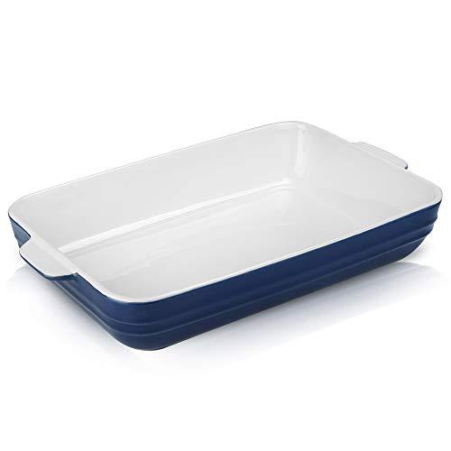 Joyroom Individual Lasagne Dish Large Deep, Ceramic Baking Pan, Serving Dish, Rectangular Baking Dish, Ceramic Baking Tray, Casserole Dish for Oven, Banded Collection (Indigo)