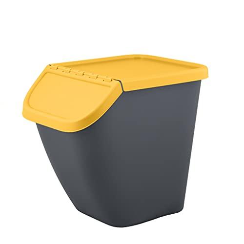 BranQ - Home essential Cubo de Basura Pelikan de 23 litros, con Tapa con Cierre, de plástico (PP) sin BPA, Color Gris Antracita con Tapa de Color: plástico