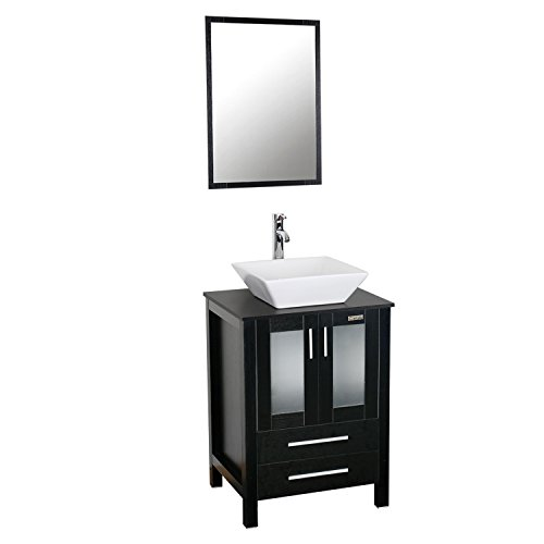 Eclife 24 inch Modern Bathroom Vanity Units Cabinet And Sink Stand Pedestal with White Square Ceramic Vessel Sink with Chrome Bathroom Solid Brass Faucet and Pop Up Drain Combo A07B01