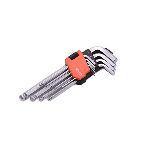 Edward Tools Ball End Hex Key Wrench Set Medium - 9 Piece Heavy Duty CRV Steel - Plastic Organizer Clip - Allen Wrench Ball End Allows up to 25 degree entry angle