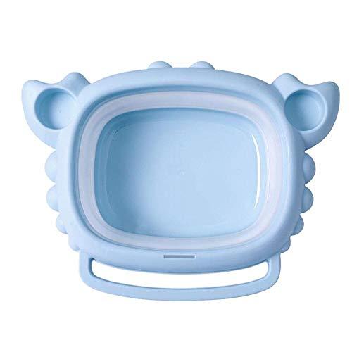 Alberta Folding-Waschbecken Krabbe formte Karikatur Faltbare Waschschüssel Fuß Becken for Neugeborene Baby-Kind-Kind-rosa Farbe (Color : Blue)