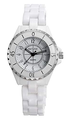 Reloj de Mujer, Reloj de cerámica Blanca Reloj Digital de Cuarzo Impermeable para niña con Puntero-White