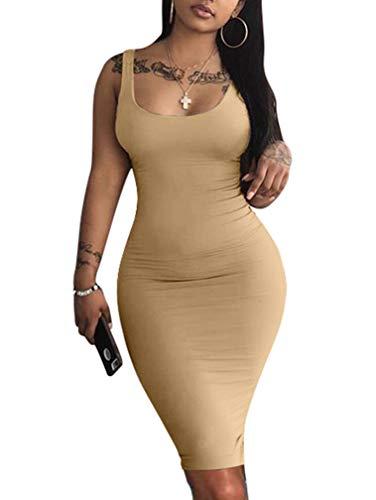 LAGSHIAN Women's Sexy Bodycon Tank Dress Sleeveless Basic Midi Club Dresses Khaki