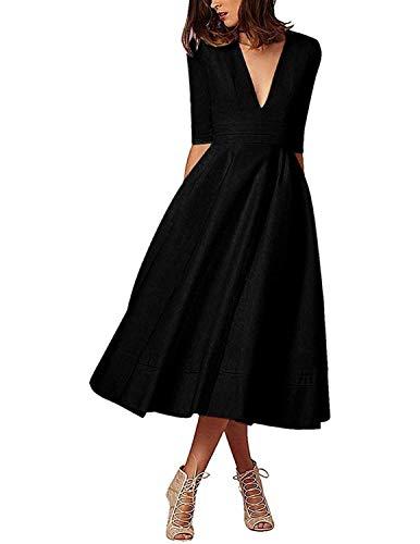 MODETREND Donna Vestiti Lunghi da Matrimonio Autunno Elegante Collo V Vestito A Pieghe Skater Abito Maxi Damigella Sera Cerimonia Inverno (M, Nero)