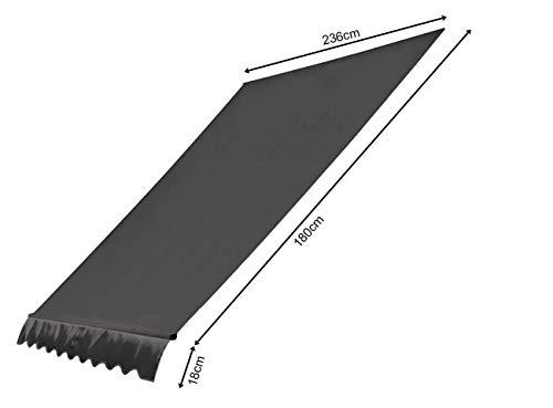 QUICK STAR Ersatzdach für Klemmmarkise 250x130cm Grau Balkon Sonnensegel Ersatzbezug