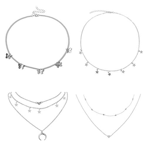 4 Sets Layered Choker Necklace Gold Butterfly Star Moon Heart Pendant Necklace Cute Vsco Multilayer Chain Choker Necklace for women teen girl (Silver 1)