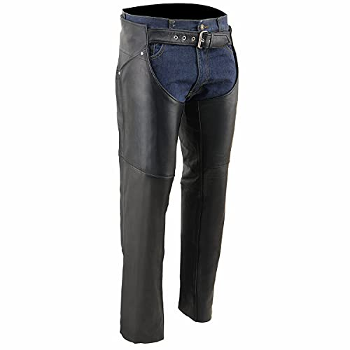 Milwaukee Leather SH1173 Women's Black Classic Hip Pocket Leather Chaps - 5X-Large