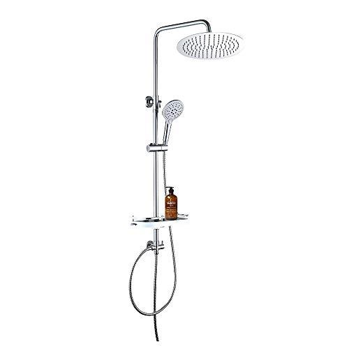 JOHO Regen Dusche Rain Shower Duschsystem Duschset Überkopfbrauseset mit Ablage(Kopfbrause D20 Rund)
