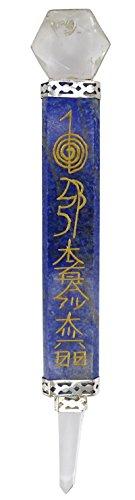 Harmonize Lapislazuli Stone Hand Craft Cristales Grabados Flat Healing Wand con Clear Quartz Reiki