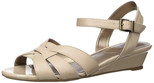 LifeStride Women\'s Yvette Wedge Sandal, Taupe, 6.5 W US