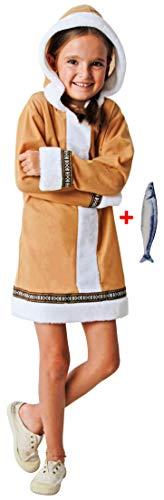 Gojoy shop- Disfraz de Esquimal para Nio y Nias Carnaval (Contiene Chaqueta con Capucha o Vestido Con Capucha y peluche de pez, 4 Tallas Diferentes) (Esquimal nia, 3-4 ao)