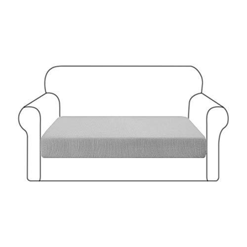 USUN Sofa Cushion Cover, Sofa Seat Cushion Slipcovers Protector for Living Room ,Durable Washable Sofa Cushion Furniture Protector with Elastic Bottom (Gray, Loveseat cushion (40-50inch))