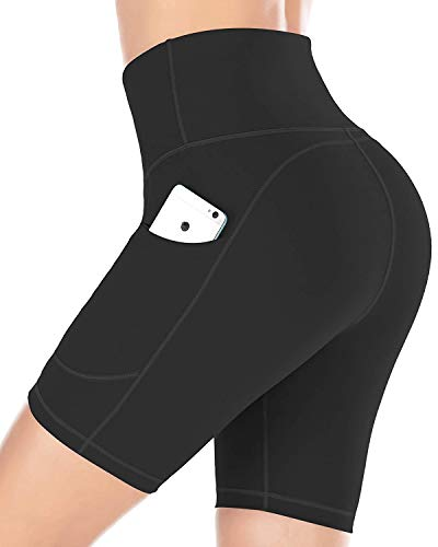 Gnpolo Womens Short Leggings Workout High Waisted Yoga Pants with Pockets Athletic Tights