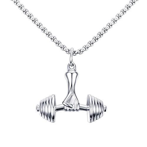 DYKJ Colgante Collar Fitness Master Jewelry Colgante con Mancuernas Dominante para Hombres Joyería
