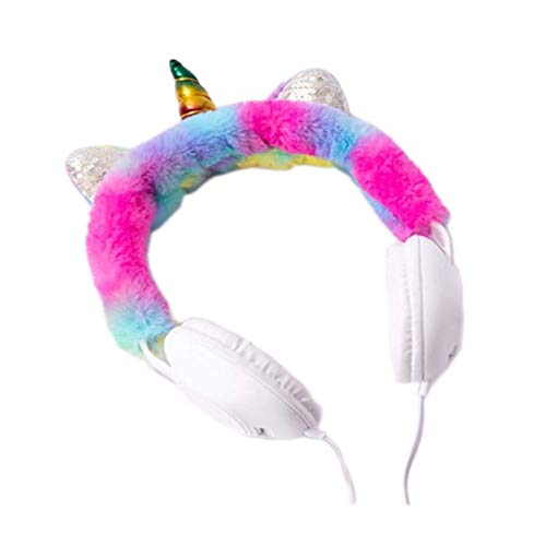 KRH Store Unicorn Fur Headphones for Girls - Wired Headphones for Kids on Ear, Toddler Headphones for 3.5mm Jack(with Mic), Pink