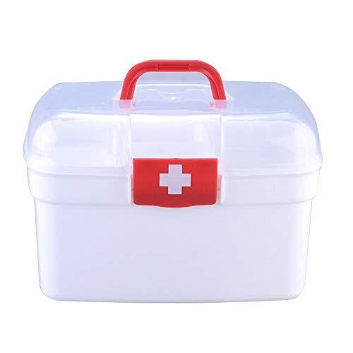 Mr.T Dekorative Lagerung Box- Kleine Aufbewahrungsbehälter, bewegliche transparente tragbare Kunststoff Erste-Hilfe-Desktop-Doppel Storage Box - Haushalt Aufbewahrungsbox (Color : Red, Size : Small)