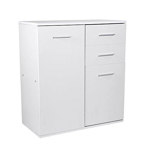 Zerone SchließFach, Weiß Holzboden Stehschrank Schrank mit 2 Schubladen und 2 Türen Wohnzimmer Highboard Schrank Vision Hochglanz mit Reichlich Platz für Dekoration
