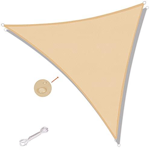 SUNNY GUARD Toldo Vela de Sombra Triangular 5x5x5m Impermeable a Prueba de Viento protección UV para Patio, Exteriores, Jardín, Color Arena
