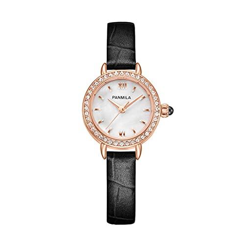 Reloj de pulsera de cuero para mujer, redondo, resistente al agua, analógico, de cuarzo, con esfera de diamante, reloj de pulsera de moda para mujer de verano (color: negro)