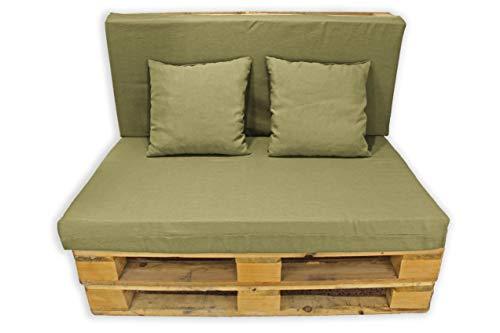 Conjunto 4 Piezas Sofá de Palets, Asiento Palet 120x80 cm + Respaldo + Dos Cojines. Cómodo y Elegante para Interior y Exterior. (Arena, Lisos)
