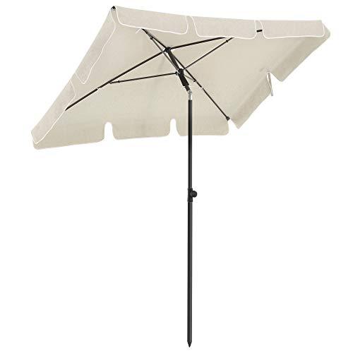 SONGMICS Sonnenschirm für Balkon, rechteckiger Gartenschirm, 180 x 125 cm, UV-Schutz bis UPF 50+, knickbar, Schirmtuch mit PA-Beschichtung, für Garten, Terrasse, ohne Ständer, beige GPU180M01