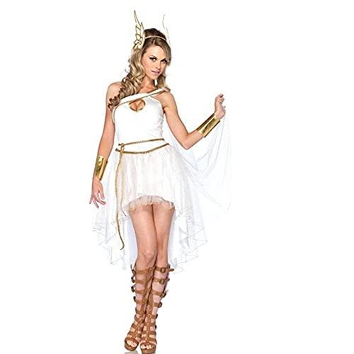 LYDHDY Disfraz de Cleopatra de Reina egipcia Sexy para Mujer Adulta, Disfraz de Diosa Griega Antigua Irregular, Fiesta de Carnaval de Halloween (Color : White Style1, Size : M)
