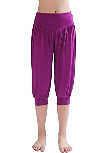 Hoerev - Pantaloni da pilates/yoga, super-morbidi, in spandex, a mezza gamba, stile harem, Donna, F0017A05_Blue_XS, Viola, S