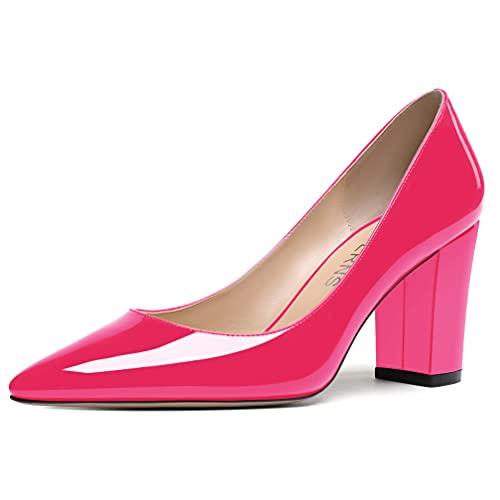 WAYDERNS Women's Magenta Slip On 3.5 Inch Patent Block Pointed Toe Solid High Heel Pumps Shoes Size 10.5 - Zapatos de Tacon para Niñas