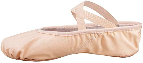 Scarpette da danza, da mezza punta, in tela, suola spezzata, varie misure per bambini e adulti rosa EU 36