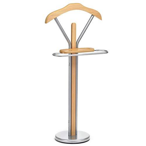 IDIMEX Valet de Chambre Fabio chevalet de Nuit Portant pour vêtements, Structure en métal laqué Couleur Aluminium et Finition en MDF Couleur hêtre