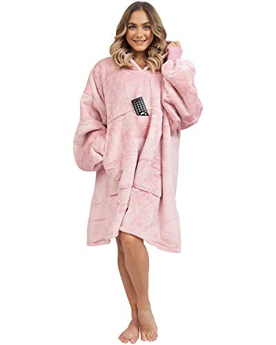 HOMELEX Wearable Blanket, Oversized Sherpa Hooded Sweatshirts with Pocket for Adults Kids Teen (Pink)