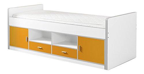 Vipack Bonny Jugendbett, Kojenbett, Funktionsbett, Einzelbett, Kinderbett, Holzwerkstoff, Farbe 11 weiß orange, 207 x 77 x 98 cm