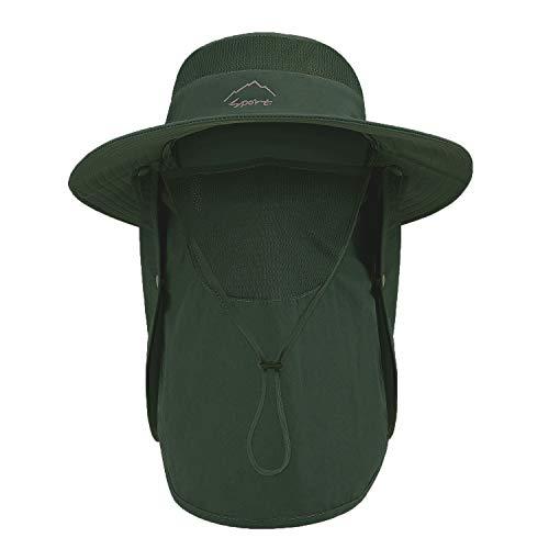 TAGVO Sonnenhut mit Abnehmbarer Halsklappe, UPF 50+ Schutzhüte Wanderhut für Außenbereich, Camping, Wandern, Gehen, Reisen, Faltbare Fischerhut Angelmütze - Verstellbarer Kinnriemen