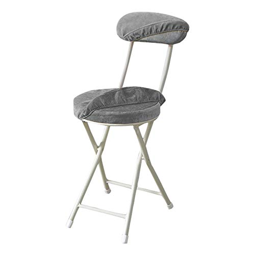 Usmoscat Folding Stool - 18.5 inch Light Weight Metal and Resilience Sponge Pad Round Stool 300lb Capacity for Dorm, Rec Room Folding Stools, with Removable Cloth Cover (Grey, with Backrest)