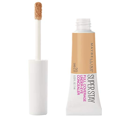Maybelline New York Super Stay Super Stay Full Coverage, Brightening, Long Lasting, Under-eye Concealer Liquid Makeup Forup to 24H Wear, With Paddle Applicator, Sand, 0.23 fl. oz.