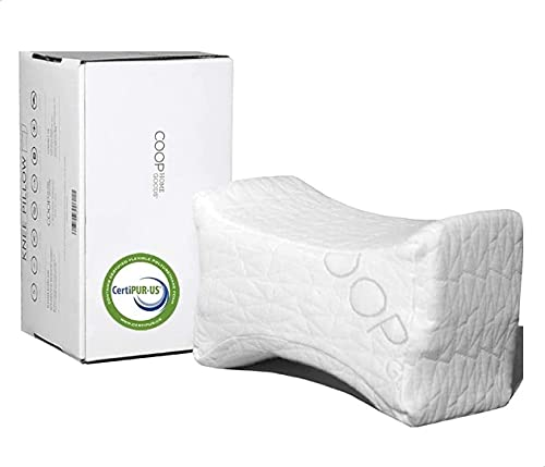 Coop Home Goods Orthopedic Knee Pillow for Sleeping - Soothing Pain Relief for Sciatica, Back, Hips, Knees, Joints, Pregnancy - Memory Foam Leg Cube/Adjustable, Washable Cover