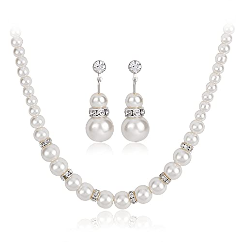collar Joyas de comercio exterior de Europa y América, conjunto simple de perlas de una sola capa, collar corto, pendientes, conjunto de dos piezas