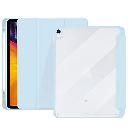 DSHBB Case for iPad Air 4 10.9 Inch 2020 with Pencil Holder,Ultra-thin and Lightweight Smart Trifold Stand Transparent Acrylic Hard Back Cover,Auto Sleep/Wake,Blue
