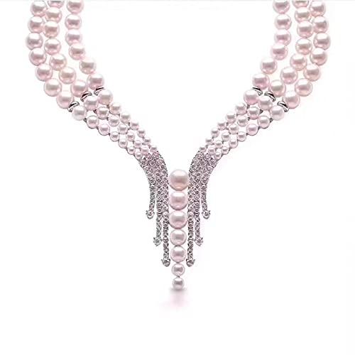 ShFhhwrl Collar Cadenas De Perlas De 3 Capas Collares Zirconia Cúbica Micro Pave Setting Accesorios De Fiesta para Mujer