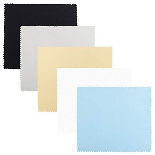 SourceTon Paquete de 25 paños de limpieza de microfibra de 15,2 x 17,7 cm, 5 colores (gris, negro, amarillo, blanco, azul) para gafas, lentes, teléfono y tabletas
