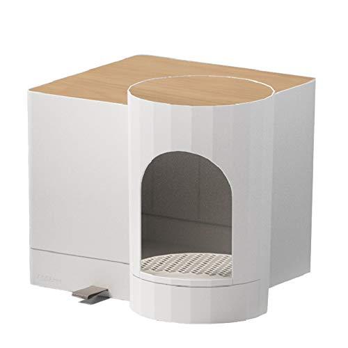 Arena para Gatos Caja con Sensor de luz, Completamente Cerrado WC cajón del Gato, Splash Arena para Gatos Prueba Pan, con Arena para Gatos Cucharada,Blanco