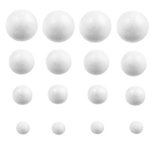 Amosfun 240 Pz Palline di Schiuma Bianca Polistirolo Polistirolo Palline Artigianali Sfere Decorazione Fai da Te Palle d'Arte per Progetti Scolastici Domestici 5 Cm 4 Cm 3 Cm 2 Cm