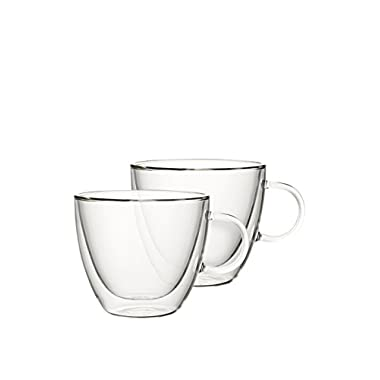 Artesano Large Coffee Mug w/Handles Set of 2 by Villeroy & Boch - Lead Free - Insulated Design - Dishwasher and Microwave Safe - 14 Ounce Capacity