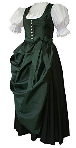 Dirndl Dirndlkleid Festtracht Trachten-Kleid Trachtenkleid elegantes Abendkleid Taft grün mit Schürze Ballkleid dunkelgrün smaragd für Ball...