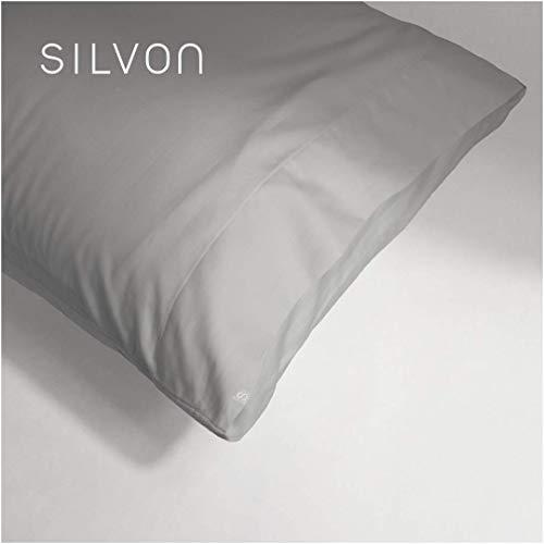 Silvon Anti-Acne Pillowcase Woven with Pure Silver   Antimicrobial, Silk-Soft   Standard, Silver