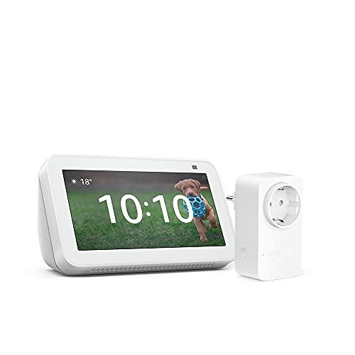 Nuevo Echo Show 5 (2.ª generación, modelo de 2021), Blanco + Amazon Smart Plug (enchufe inteligente WiFi), compatible con Alexa
