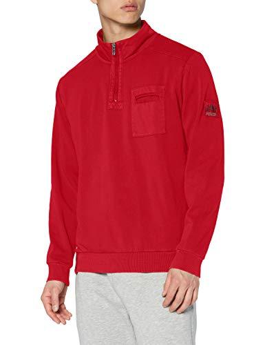 Pioneer Herren Sweat Troyer Sweatshirt, Lava red, XL